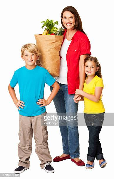 Mother Standing With Kids While Holding Groceries - Isolated