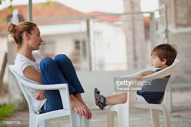 Mother talking to her kid