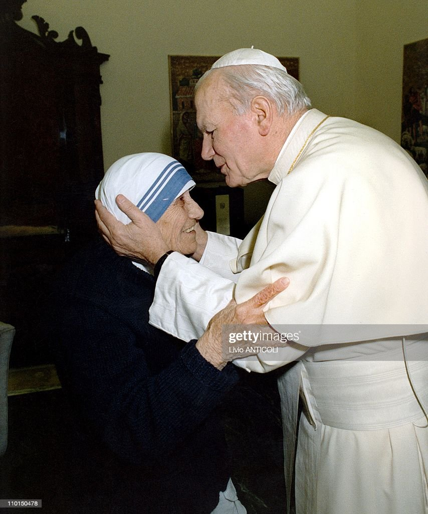 The Mother Teresa and John Paul II at Vatican in Rome, Italy on February 05, 1992.
