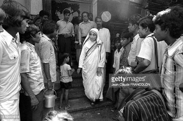 Mother Teresa and the poor in Calcutta India in October 1979