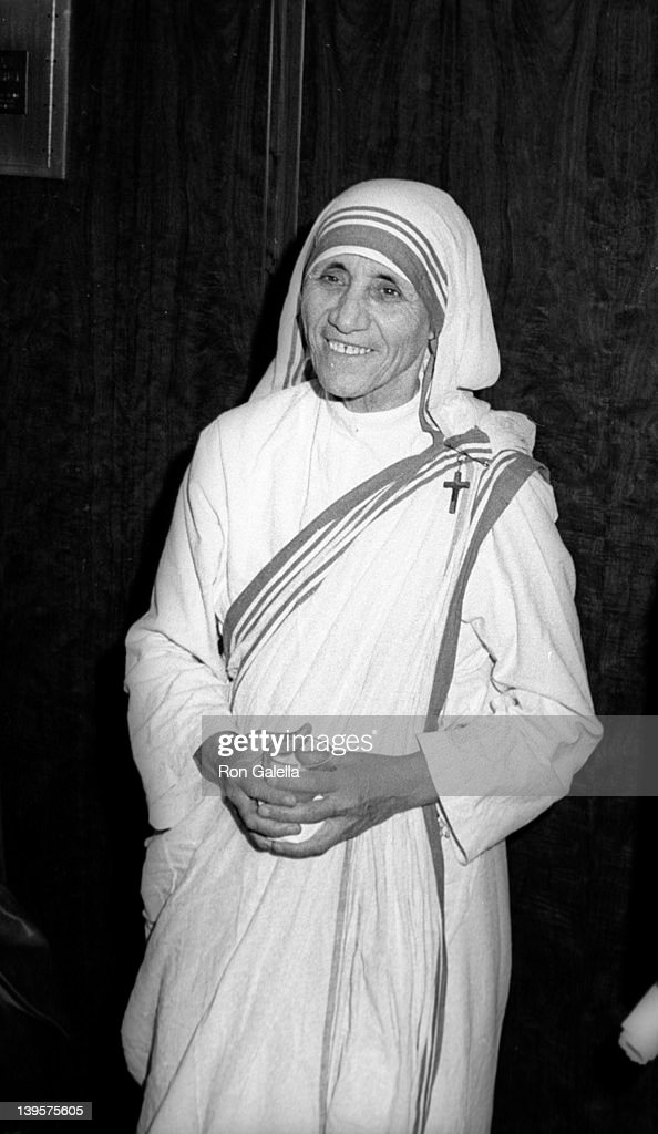 Mother Theresa attends Joseph Kennedy Jr. Foundation International Symposium on Human Rights, Retardation and Research on October 16, 1971 at the Kennedy Center in Washington, D.C.