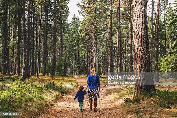 Mother walking with son (2-3) in forest