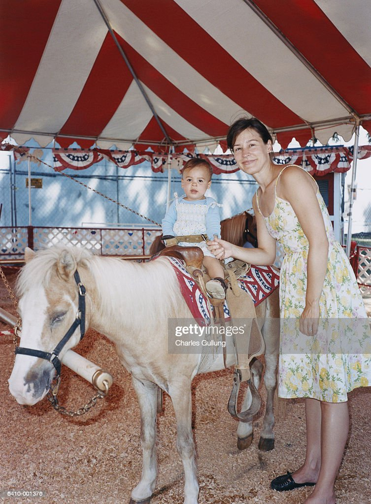 Mother with Daughter on Pony