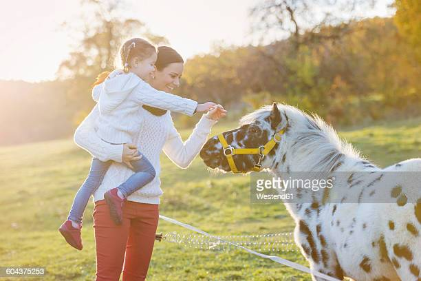 Mother with daughter petting pony on paddock