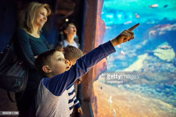 Mother with kids visiting a huge aquarium
