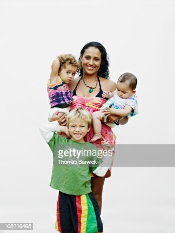 Mother with three small children