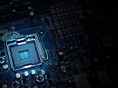 PC motherboard closeup, blue tone