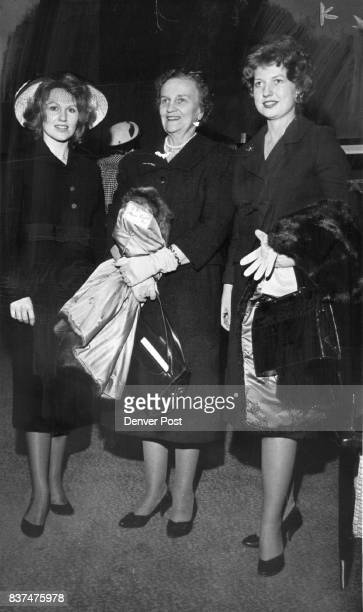 A motherdaughter trio at the affair presented by Denver Designers were Mrs Charles Cobb Mrs Wilfred G Eyre and Miss Jane Eyre The Eyre leave soon for...