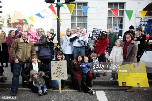 Mothers and babies stage a Protest Party to demonstrate against the Panorama expose of IVF doctor Mohammed Taranissi and police raids ordered by the...