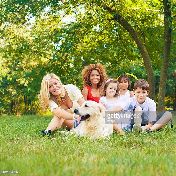 Mothers and children enjoy outdoors.