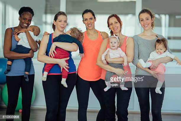 Mothers and their babies exercising