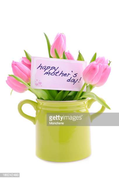 Mothers day card and tulips