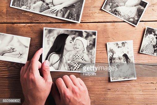 El día de la composición. Blanco y negro, imágenes backgr de madera : Foto de stock