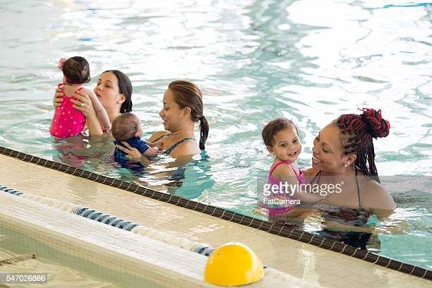 Mothers Introducing Their Children to the Water