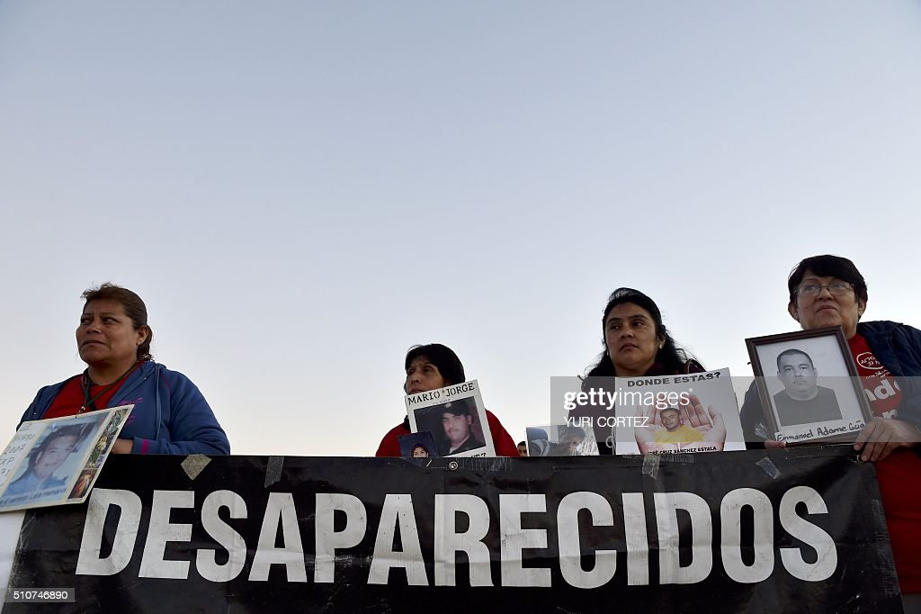 Mothers of missing sons protest near Ciudad Juarez's international airport on the eve of the arrival of Pope Francis on February 16 2016 Pope Francis...