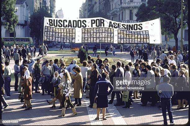 Mothers of Plaza de Mayo at demonstration regarding missing persons who disappeared during military regime in front of presidential palace