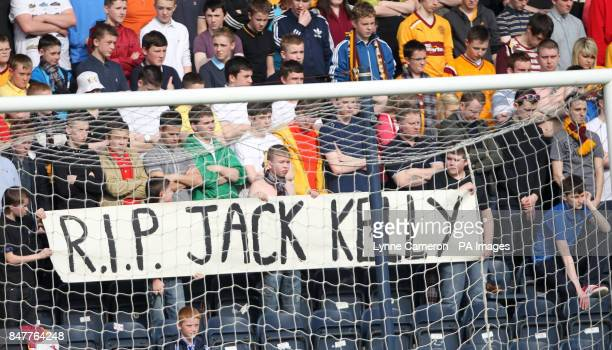 Motherwell Fans show support for Liam Kelly who's father Jack died at Hampden last week before the Clydesdale Bank Scottish Premier League match at...