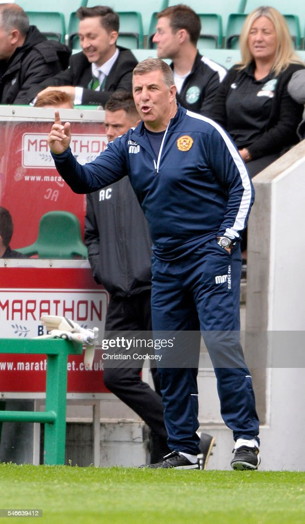 Motherwell manager Mark McGhee at Easter Road on July 10 2016 in Edinburgh Scotland