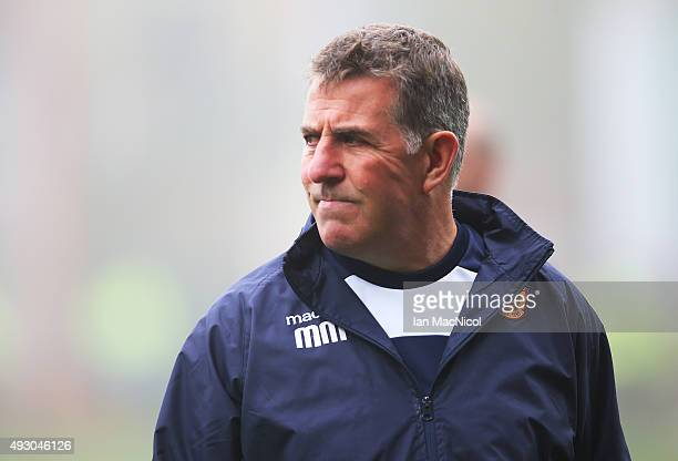 Motherwell manager Mark McGhee looks on during the Ladbrokes Scottish Premiership match between Motherwell and Celtic at Fir Park on October 17 2015...
