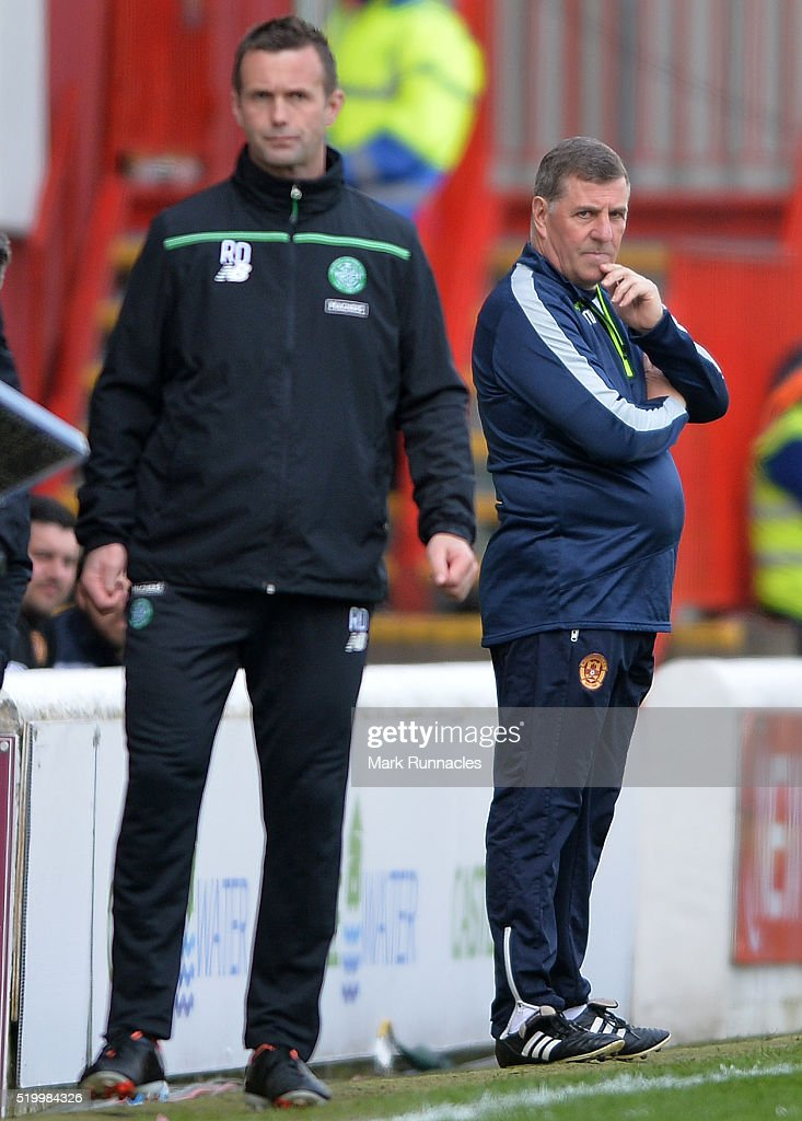 Motherwell manager Mark McGhee looks on during the Ladbrokes Scottish Premiership match between Celtic FC and Motherwell FC at Fir Park on April 9...
