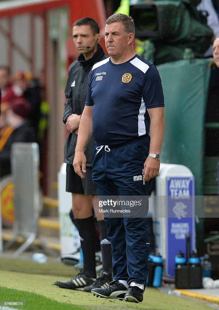 Motherwell manager Mark McGhee looks on during the Scottish League Cup First Round match between Motherwell FC and Rangers FC at Fir Park on July 16...