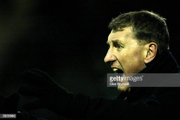 Motherwell manager Terry Butcher shouts instructions during the Bank of Scotland Scottish Premier League match between Motherwell and Celtic at...