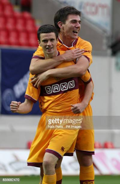 Motherwell's Jamie Murphy celebrates wth Ross Forbes after scoring the third goal against Llanelli during the Europa League Qualifying Second Leg at...