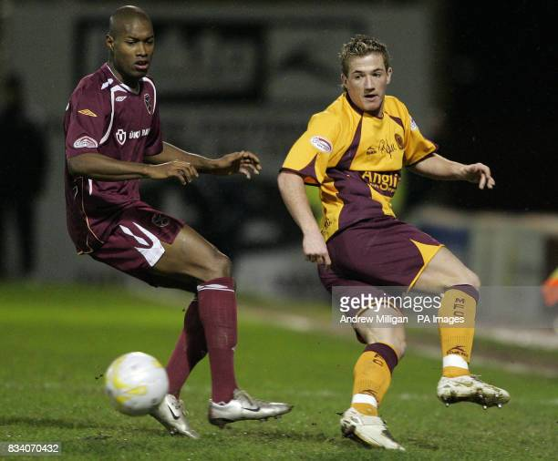 Motherwell's Ross McCormack challenges Hearts' Jose Concalves during the Scottish Cup fourth round replay match at Fir Park Stadium Motherwell