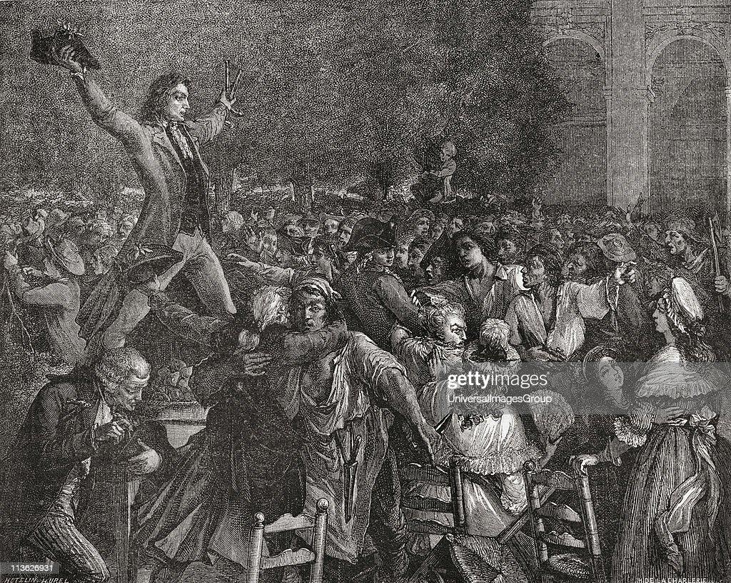Motion au Palais Royal by Camille Desmoulins 1789 From 'Histoire de la Revolution Francaise' by Louis Blanc