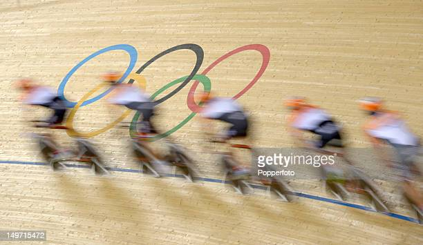 Motion blur action of the competitors on Day 6 of the London 2012 Olympic Games at the Velodrome on August 2 2012 in London England