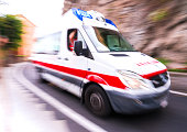 Motion blur ambulance in Italy