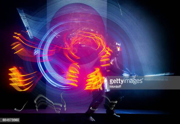 Motion Blur Dancing Of Samurai In LED Costume