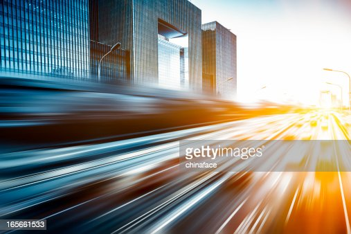 Motion blur image of traffic in Beijing, China