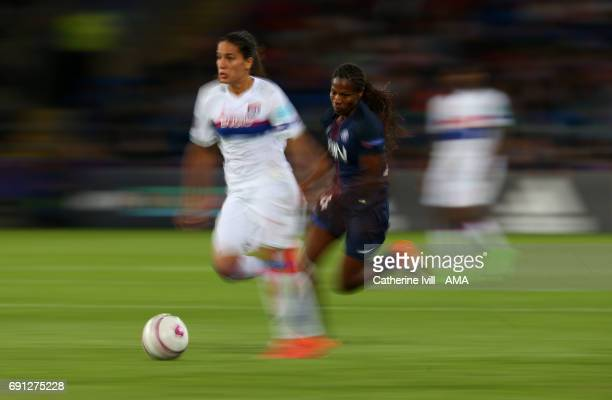 Motion blur of Amel Majri of Olympique Lyonnais and Formiga of PSG during the UEFA Women's Champions League Final match between Lyon and Paris Saint...