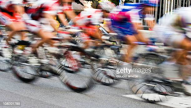 Motion Blur of Bicycle Race Riders. Color Image