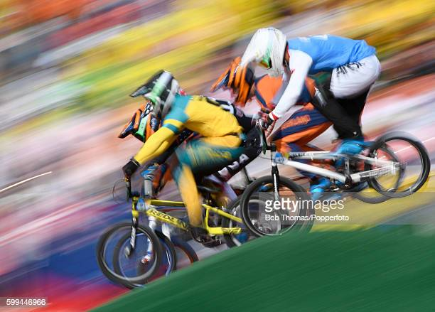 Motion blur of competitors during the Mens BMX Semi Finals on day 14 of the Rio 2016 Olympic Games at the Olympic BMX Centre on August 19 2016 in Rio...