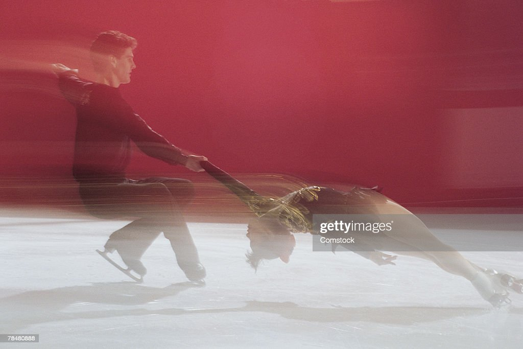 Motion blur of figure skating : Stock Photo