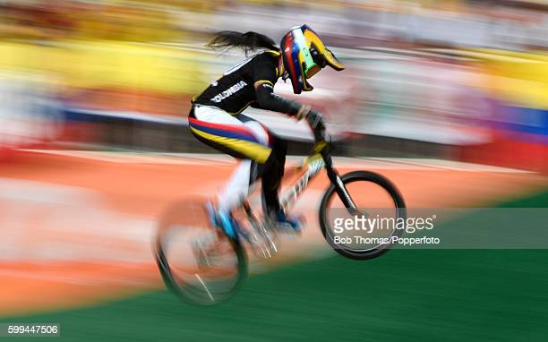 Motion blur of Gold medalist Mariana Pajon of Colombia during the Women's BMX Final on day 14 of the Rio 2016 Olympic Games at the Olympic BMX Centre...