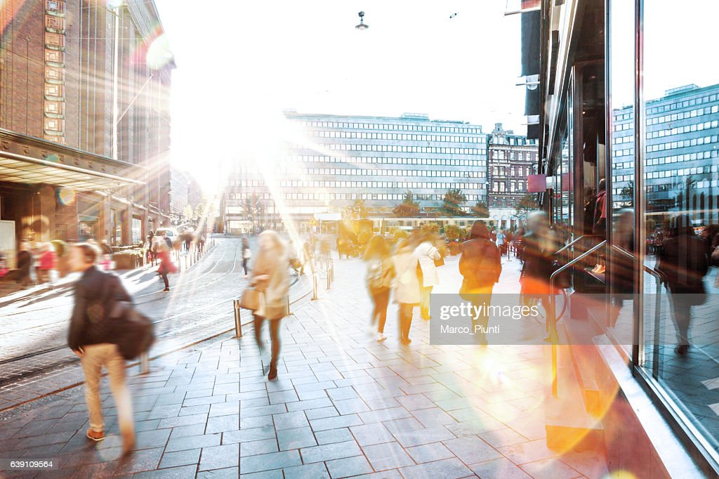 Motion Blur of People Walking in the City : Stock Photo