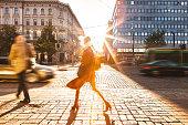 Motion blur of People Walking in the City of Helsinki