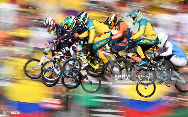 Motion blur of riders during the Mens BMX Final on day 14 of the Rio 2016 Olympic Games at the Olympic BMX Centre on August 19 2016 in Rio de Janeiro...