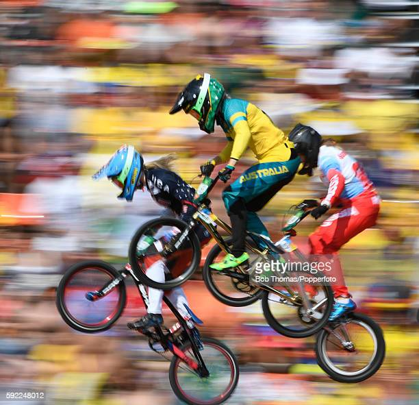 Motion blur of riders during the Womens BMX Semi Finals on day 14 of the Rio 2016 Olympic Games at the Olympic BMX Centre on August 19 2016 in Rio de...