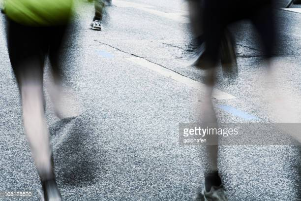 Motion Blur of Runners During City Marathon