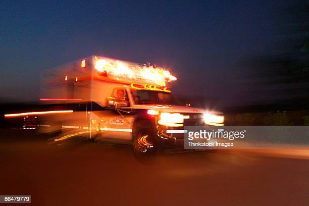 Motion blur of speeding ambulance
