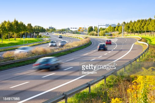 Motion blur of traffic on multilane highway