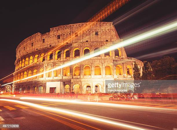 Motion blur traffic at Coliseum in Rome