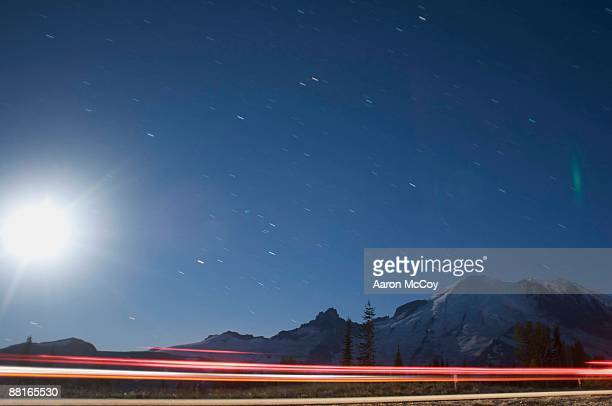 Motion blur with lights and sky