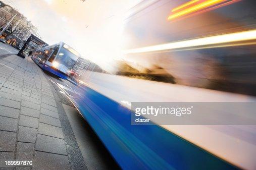 Motion blurred Amsterdam tram