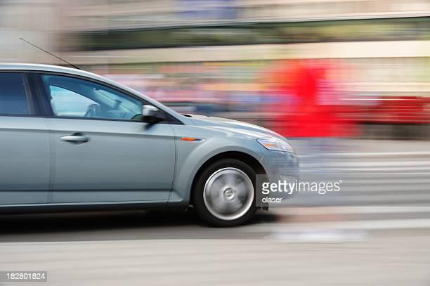 Motion blurred car in traffic