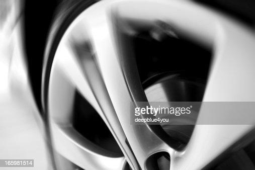 motion blurred car wheel